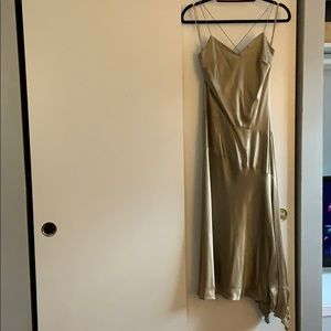 Gold asymmetrical satin dress